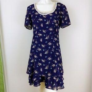 Vintage 90s Purple Floral Babydoll Ruffle Dress